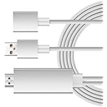 iRoundy Lightning a HDMI Cable, Plug y Play Lightning MHL a HDMI alta velocidad 1080p HDTV Cable para iPhone 7/7 Plus, 6/6 Plus/6S/6S Plus, Samsung Galaxy S3 S4 S5 S6 S7, Note3 Nota4 Note5