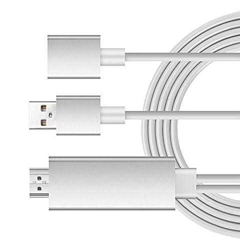 iroundy 3in 1HD Mirroring Kabel, Plug und Play Lightning MHL zu HDMI High Speed 1080p HDTV Kabel für iPhone 7/7Plus, 6/6Plus/6S/6S Plus, Samsung Galaxy S3S4S5S6S7, Note3Note4Note5