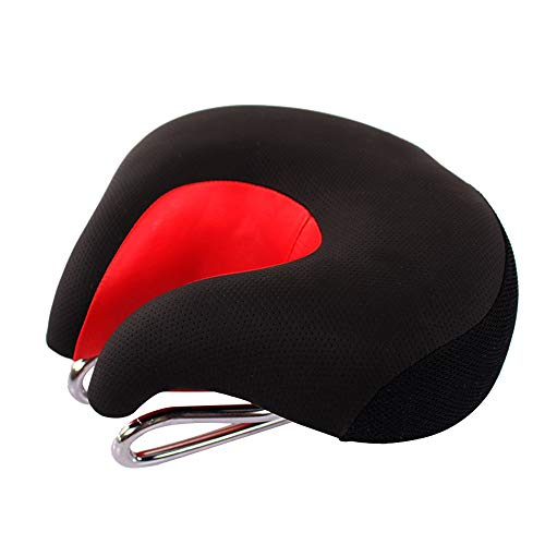 Hunpta@ Mountainbike Sattel, Ergonomische MTB Mountainbike Fahrrad Sattel Split Nase Radfahren Sitzkissen Pad (rot)