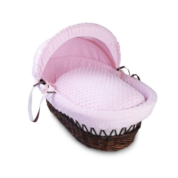 Dimple Dark Wicker Moses Basket - Pink Clair de Lune Super soft, dot Dimple Moses dressings are super soft next to your baby's skin. Comes complete with two carry handles, adjustable hood, 2.0 tog coverlet & mattress. The chic white Moses basket is made using sturdy, lightweight wicker. 1