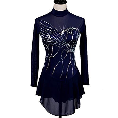 Kostüm Wear Tanz Performance - YunNR Klassisch Eiskunstlaufkleid für Mädchen Frauen, Marine Professionelle Eislauf-Wettbewerb Kostüm Lange Ärmel Eislauf-Tanz-Performance Wear Trikots mit Kristallen,S