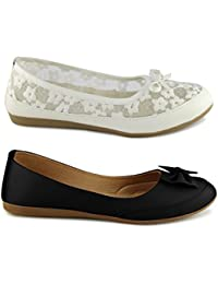 TEQTO Women's White And Black Pack Of 2 Ballerinas {Combo-20}