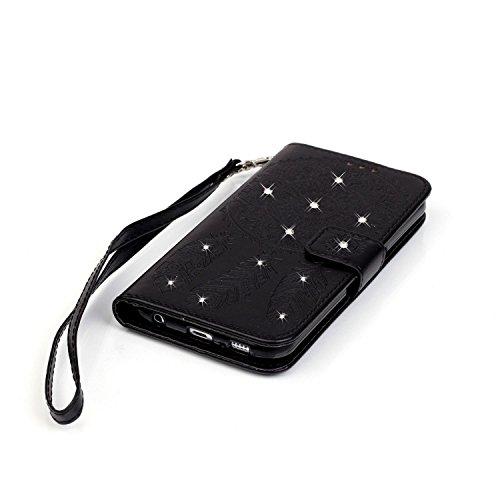 Cover Galaxy S6 Edge Custodia , Retro Diamante strass Design Con Cinturino da Polso Magnetico Snap-on Book style Internamente Silicone TPU Custodie Case in pelle Protettiva Flip Per Samsung Galaxy S6  Campanula Nero