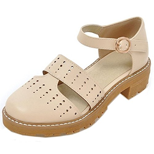COOLCEPT Femmes Mode Sangle de Cheville Court Shoes Bout Ferme Escarpins Bloc Talon bas Chaussures Beige