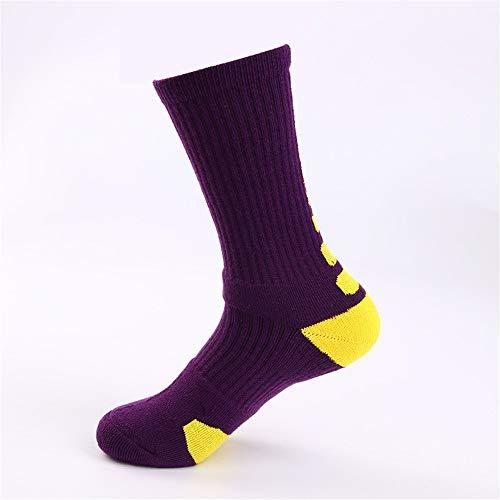Wxmddn-calze da uomo/calze alte/calzini sportivi con fondo alto/antiscivolo ammortizzatori in calze/calzini sportivi/calzini sportivi caldi all'aria aperta,etichetta gialla con fondo viola