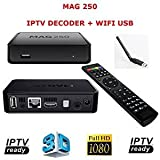 MAG 250 DECODER IPTV SET TOP BOX Multimedia Player Internet TV IP Ricevitore MAG250 + Adattatore WLAN con antenna WiFi Stick Dongle
