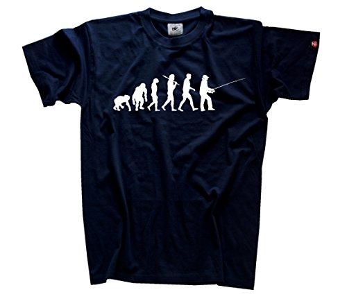 Shirtzshop Erwachsene T-Shirt Original Angler I Angeln Evolution, Navy, S, sshop-evofish-t (Navy S/s Erwachsene T-shirt)