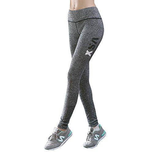 Dolamen Leggings Sport Femme, Yoga Gym Fitness Sport Pantalons vetements pour Femme, Costume avec ceinture élastique large finement souple Gris