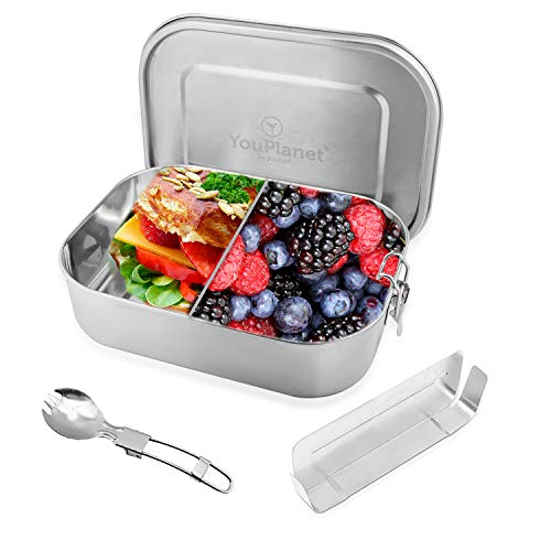 YouPlanet® Premium Lunchbox 1200ml aus Edelstahl mit herausnehmbarer Trennwand - BPA Frei - Auslaufsicher - Brotdose, Brotbüchse, Vesperdose inkl. GRATIS Besteck