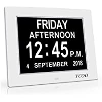[Newest Version]12 Options Alarms Clock, Level 5 Auto Dimmable Display - Memory Loss Day Clock Digital Calendar Day Clock, Extra Large Non-Abbreviated Day & Month Digital Clock