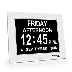 YCOO [Newest Version Day Alarm Clock – Extra Large Impaired Vision Digital Clock with Extra Large Non-Abbreviated Day & Month.8″ Clock,12 Alarm Options Alarm Clock