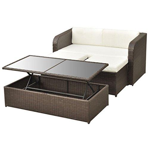 vidaXL 9-tlg. Gartenmöbel-Lounge-Set Sofa-Set Poly Rattan Braun - 6