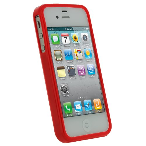 igadgitz Rosso Custodia TPU Gel Case Cover Rigida Protezione per Apple iPhone 4S + Protettore Schermo Solido Rosso