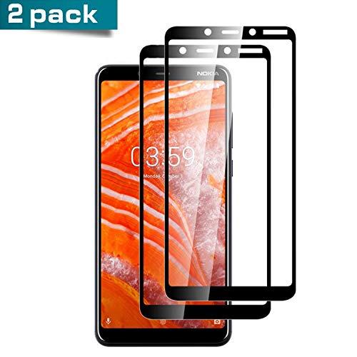 [2 Stück] Panzerglas für Nokia 7 Plus, [Vollständige Abdeckung] 0.30mm Ultra-klar Folie Panzerglasfolie, Bildschirmschutzfolie Glas kompatibel mit Nokia 7 Plus (Schwarz)