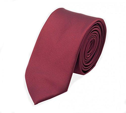Edle Fabio Farini Krawatte, 6 cm in verschiedenen Farben, Burgunder-Rot unifarben