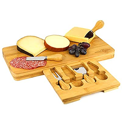 Bamboo Cheese Board | Wooden Serving Platter | Integrated Speciality 4 Piece Cheese Knife Set | Perfect Gift | M&W