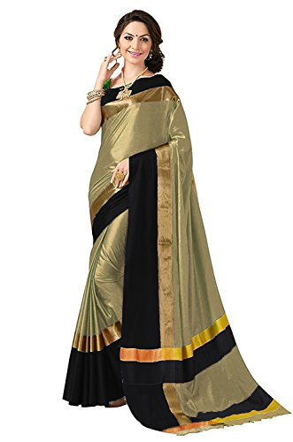 BEST COLLECTION Art Silk Saree With Blouse Piece (Siji_1Cream_Black_Cream_Free Size)