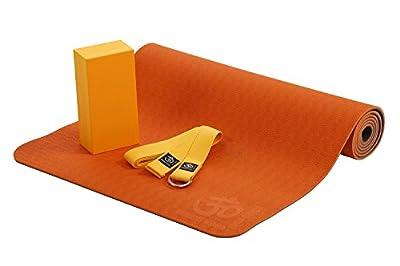 Lotus Pro Yoga Set, TPE-Yogamatte (6mm) mit farblich passendem Yogagurt und Yogablock, Komplett Set