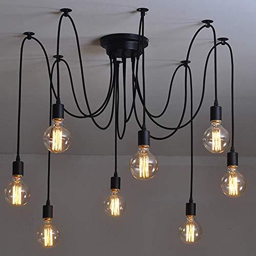 Spinne Kronleuchter DIY Deckenleuchte Lampe Retro Industry Ceiling Light Kronleuchter Leuchte Vintage Pendelleuchte Speisesaal Schlafzimmer Wohnzimmer Esszimmer Hotel Dekoration (8 Kopf)