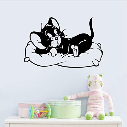 KMxm Y Dibujos Animados Gato Durmiendo Tom Y Jerry Pegatinas De Pared 8504 Que Viven Habitaciones De Niños Dormitorio Habitación De Niños Perros Y Gatos Habitación Decoración del Hogar