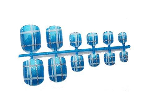 2 boîtes de bricolage Conçu Faux ongles d'orteils / clous,Bleu