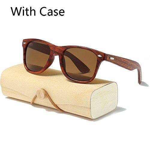 MinegRong handgefertigten Holz Sonnenbrille Männer Frauen quadratische Sonnenbrille für Männer Frauen Spiegel Holz- Sonnenbrille retro de Sol männlich 2017, KP1530 C2 mit Fall