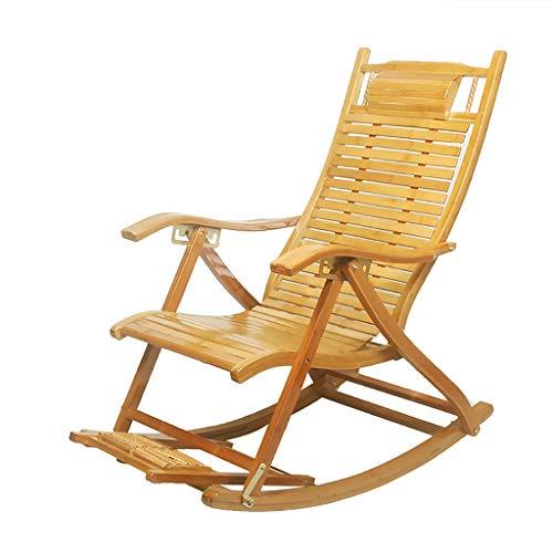 Lw yychair Schaukelstuhl Bambus Schaukelstuhl Klubsessel Ruhesessel Erwachsener Schaukelstuhl Fauler Balkon Nickerchen Stuhl Alter Mann Freizeit klappbar Mittagspause (Farbe : A)