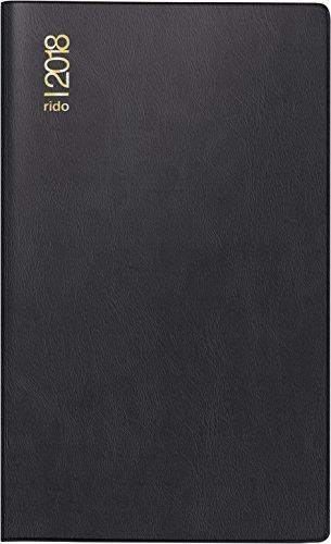 Preisvergleich Produktbild rido/idé 704500290 Taschenkalender/Faltkalender GILET-Planer, 2 Seiten = 1 Monat, 70 x 118 mm, Kunststoff-Einband schwarz, Kalendarium 2018