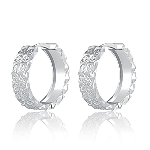 14ct 585 White Gold Diamond-Cut Thick Band Hoop Creole Earrings (Diameter 0.6 Inch) Black Friday Christmas Gifts for Women Girls