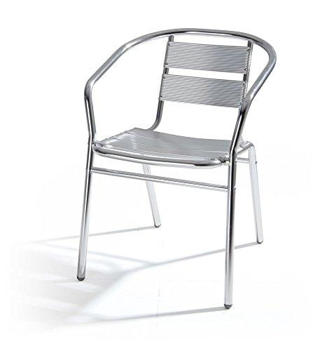VERDELOOK Alumine Sedia da Giardino in Alluminio, Dimensioni 54x59x74 cm, per arredo Esterni