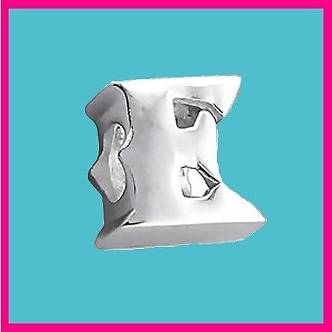 Letra plateada, letra E, auténtica plata de ley 925, para pulseras y cadenas, tipo Pandora