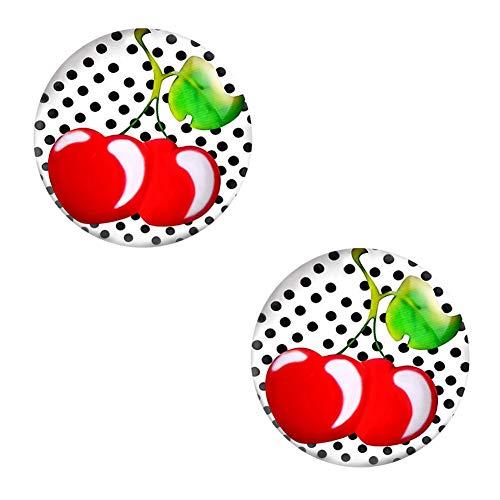 Ohrstecker Polka Dot Weiß Schwarze Punkte – Rockabilly Ohrringe für Damen Ø 10mm Edelstahl - 2