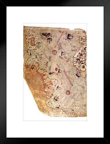 Piri Reis 1513Historische Weltkarte mattierte Poster, gerahmt von proframes 50,8x 66cm -