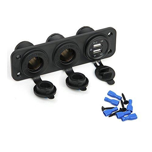 Fortag Dual USB Zigarettenanzünder Ladegerät Adapter Steckdose Anschluss Buchse Ladeadapter Auto KFZ LKW Motorrad Schwarz