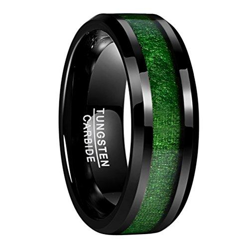 Nuncad Ring für Männer schwarz-grün Holz 8mm breit, Unisex Wolfram Ring mit Ahorn Holz, perfekt für Freundschaft, Hochzeit, Partnerschaft, Größe 62 (22)