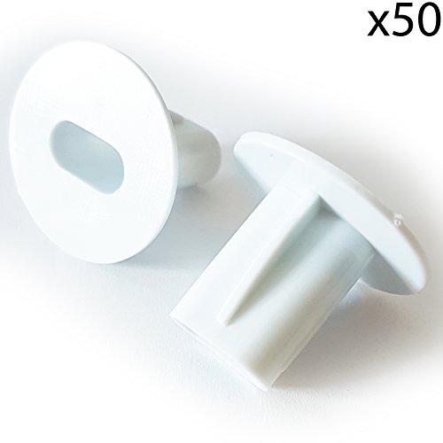 50x 8mm weiß Twin/Double Shotgun Kabel Eintrag Tüllen Büsche/– Feed Durch Wand/Brick Cover–Koax/Satellite Loch Teller Kappen–CCTV/DVR (Shotgun Cover)