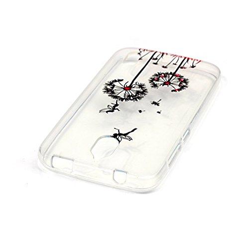 Qiaogle Telefon Case - Weiche TPU Case Silikon Schutzhülle Cover für Apple iPhone 5 / 5G / 5S / 5SE (4.0 Zoll) - XS09 / Rote Liebe Weiße Chrysantheme XS05 / Schwarz Löwenzahn