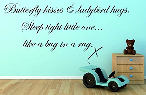 Butterfly Kisses & Coccinella Hugs Sleep Tight Little One Wall Decal camera B6, Black, 830mm x 400mm