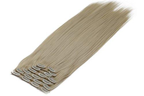 Prettyshop xl set 7 pezzi clip nelle estensioni estensione dei capelli parte dei capelli liscio fibra sintetica termoresistente biondo platino # t1025 ce30