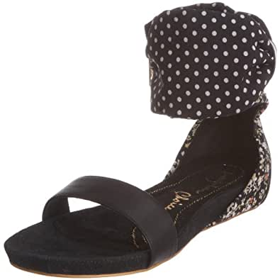 Irregular Choice Women's Face It Black Open Toe Flat 3911-2C 4 UK