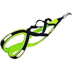 X-Back harnais pour chien pour le vélo, ski-joering, scooter, traîneau, noir / jaune fluo couleur