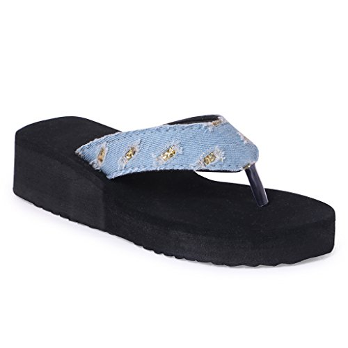 HD Casual Rubber Flip-Flop Slippers For Women (Sky Blue, IND-6/Eu-36)