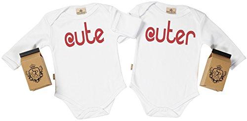 SR - estuche de presentación - Cute, Cuter body gemelos bebé - ropa para gemelos bebé - regalo para gemelos bebé, Blanco, 6-12 meses