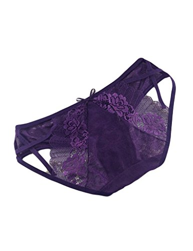 Bestgift Damen Thongs Spitze Slips Lace Rosen Thongs Transparente Tanga G-Strings Lila