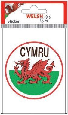 Auto-Aufkleber/Sticker, Motiv Walisische Flagge Cymru Wales, rund, 10 cm Durchmesser)