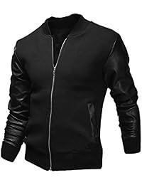 Hommes Fermeture Éclair Front Poches empiècements en simili cuir Manches Longues Vestes