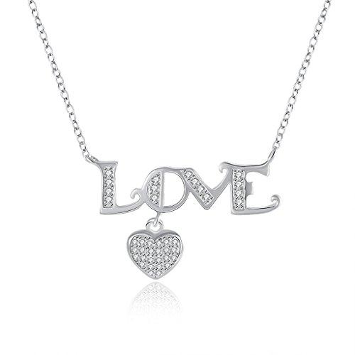 HMILYDYK 925plata para mujer Halo Diamond Love Collar hermoso Cubic Zirconia Charm corazón Pave colgante para regalo