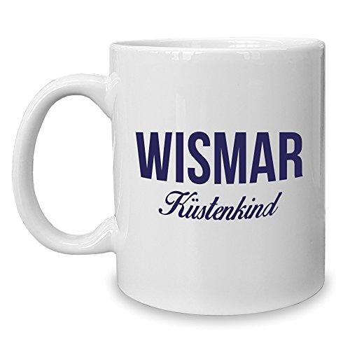 Shirt Department - Kaffeebecher - Tasse - Wismar Küstenkind weiss-dunkelblau