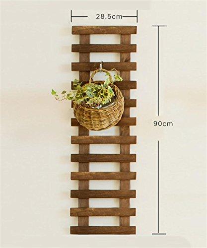 Fioriera da balcone in legno da appendere alla parete fiore rack parete vaso di fiori piante grasse ringhiera da parete con ripiani con gancio, carbonized color, 90 cm