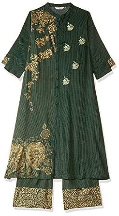 Jaipur Kurti Women's Rayon a line Salwar Suit Set (JKPLZ3884- Green_S)